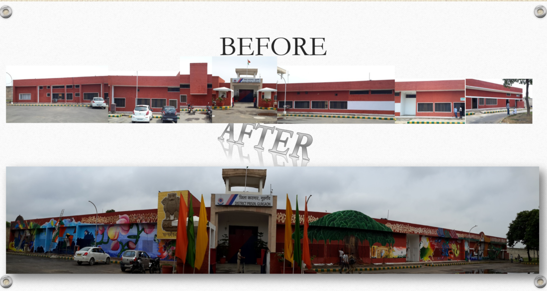 Bhondsi exterior in panorama- Before After