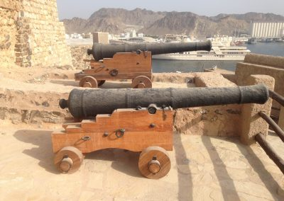 Cannon on new carriages at Mutrah