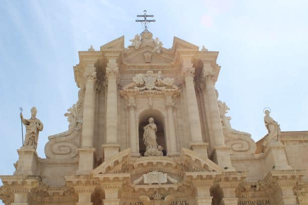 The upper facade of the Cathedral, built after the 1693 earthquake (Photo: Brent Petersen)