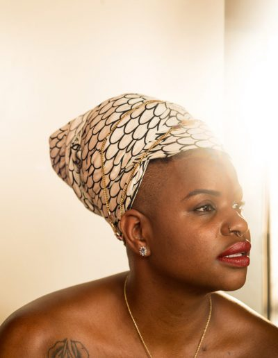 Ericka hart with patterned headwrap