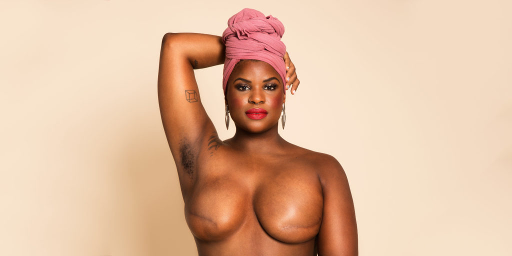 Ericka Hart with pink headwrap