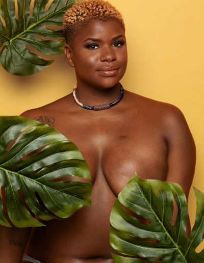 Ericka Hart with monstera leaves