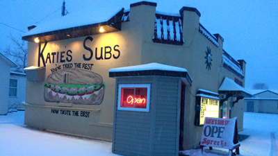 Katie's Subs outdoors in the snow