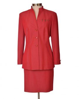 Escada Vintage Red Long Sleeves Skirt Suit Size 40 US 10
