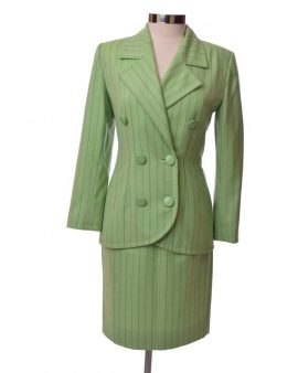 Givenchy Couture Vintage Green Long Sleeves Skirt Suit Set