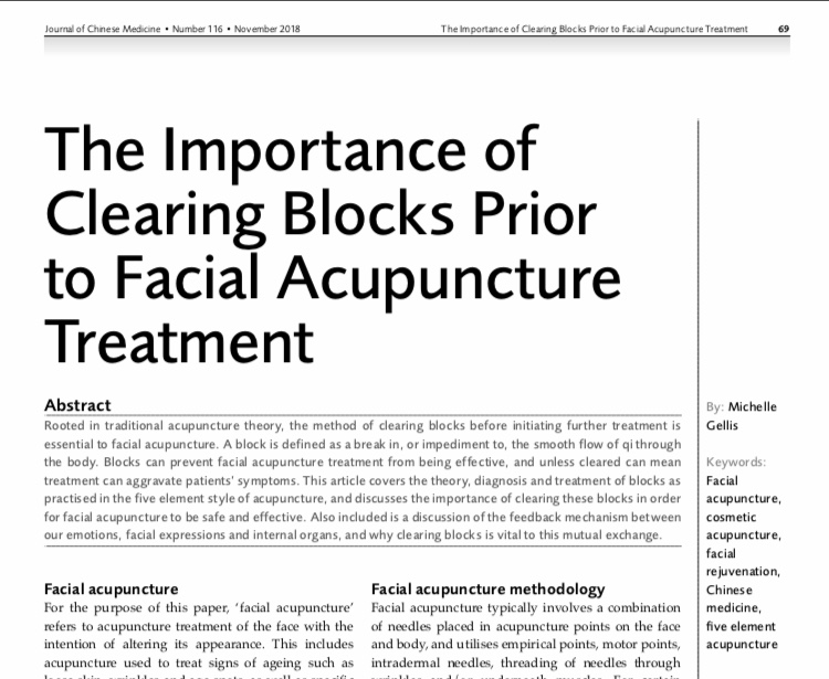 Importance of Clearing Blocks Prior to Facial Acupuncture Treatment JCM article-Michelle Gellis