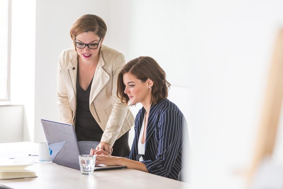 Two businesswomen working together on a project.