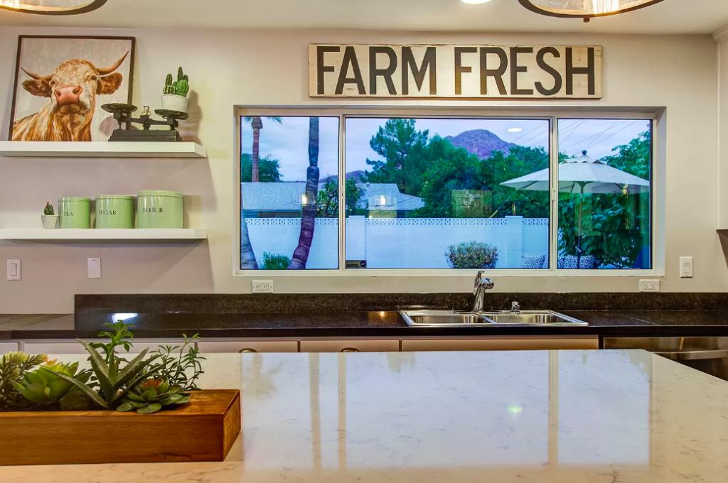 staged kitchen with farmhouse decor