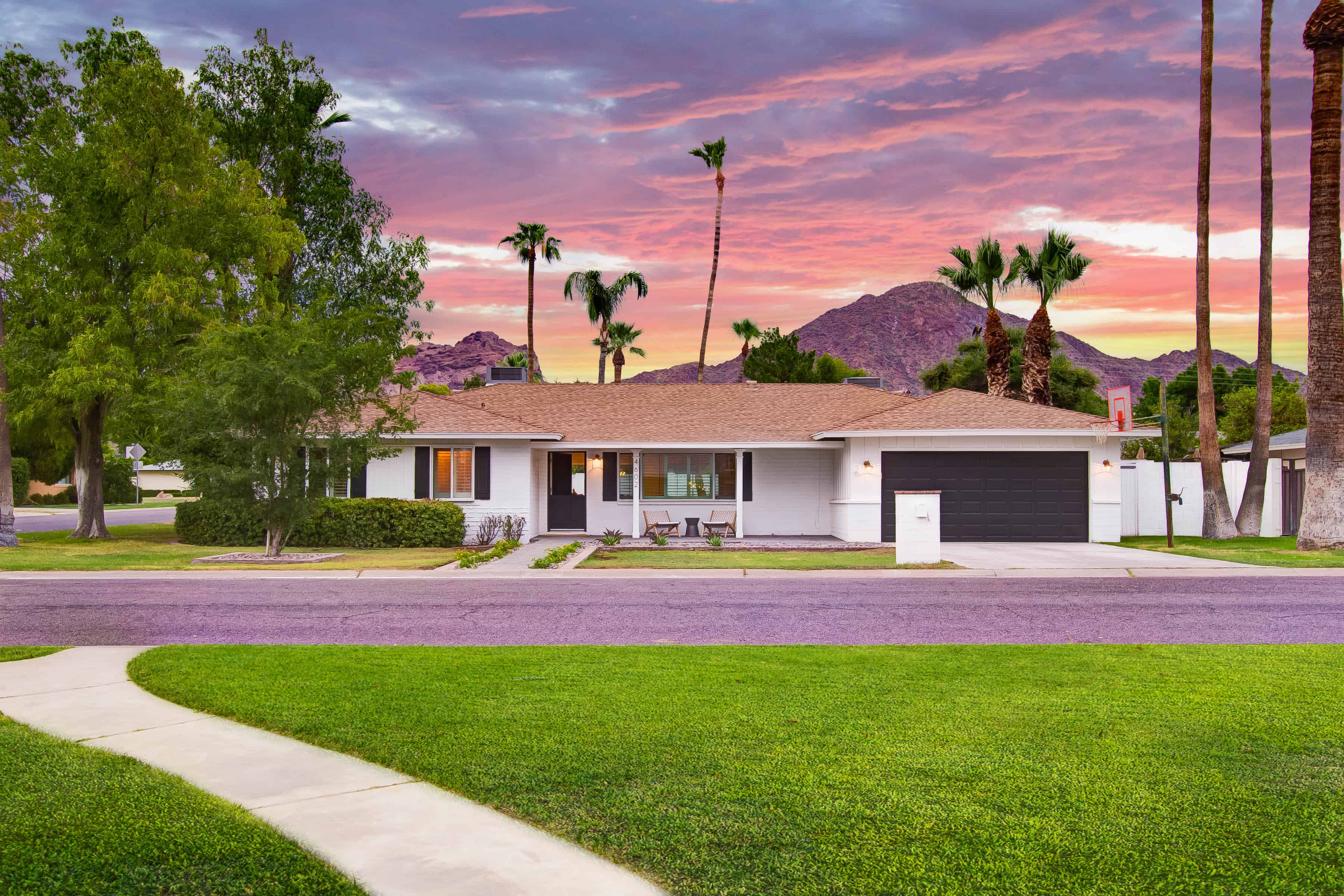calle redondo staged home with view of camelback mountain in the  background