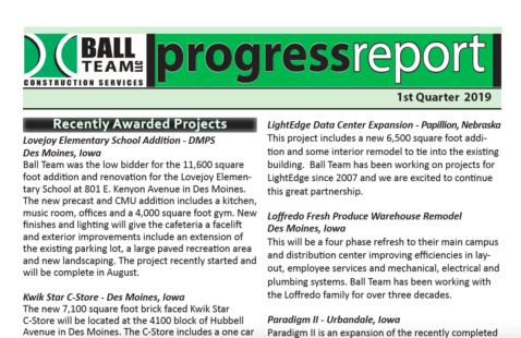 First Quarter 2019 Progress Report