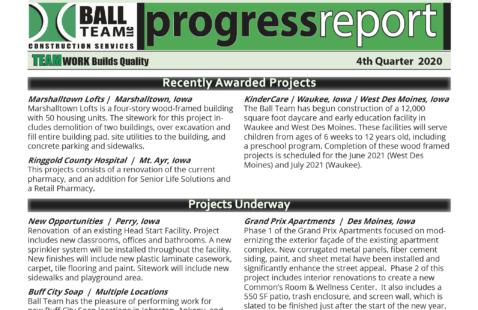 2020, 4th Quarter Progress Report