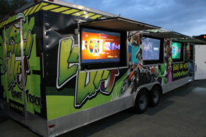 All displays showing on outside of arcade truck