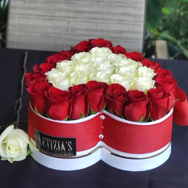 Red and White Roses in Red Heart Shaped Box