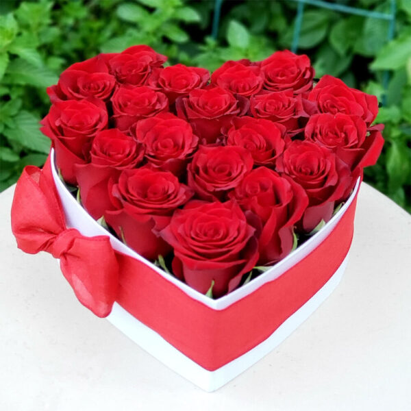 Red Roses in White Heart Shaped Box