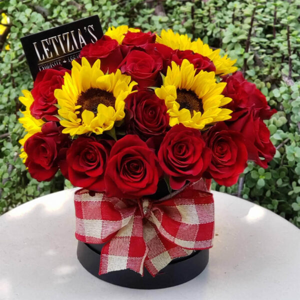 Red Roses and Sunflowers in Round Black Box
