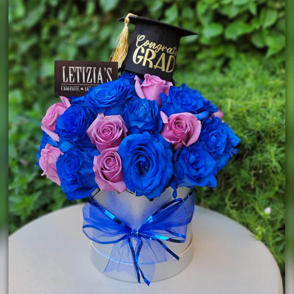 Purple and Blue Roses in Round White Box