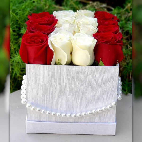 Red and White Roses in White Box with a Strand of Pearls