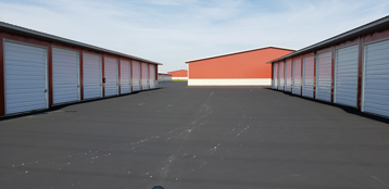 Outdoor view of space between storage units
