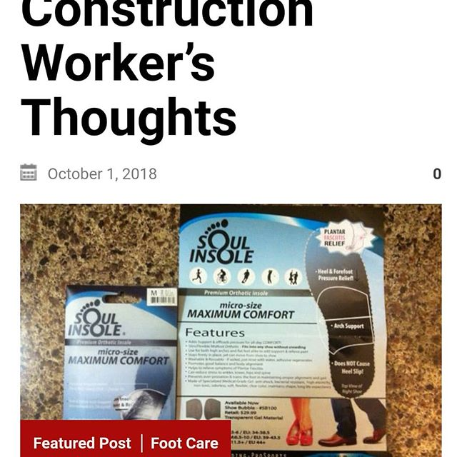 Thrilled to hear that our insoles have helped Chris with his Plantar fasciitis, despite long hours on his feet, working construction!  Read his testimonial here: https://www.keepdryfeet.com/soul-insole-review-a-construction-workers-thoughts/#plantarfasciitis #constructionworker #keepdryfeet #soulinsole