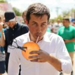 Buttigieg eats grapefruit by stabbing it with scissors and vacuuming the contents out with a straw