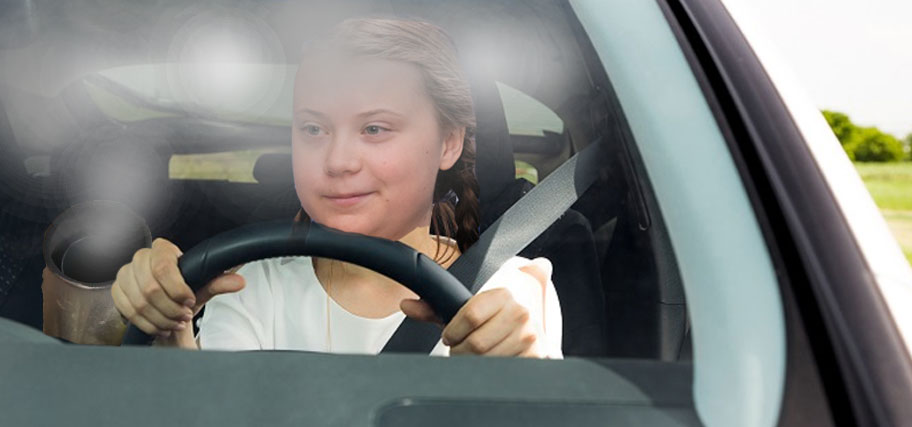 Greta Thunberg introduces her zero-emissions car with tailpipes on the inside