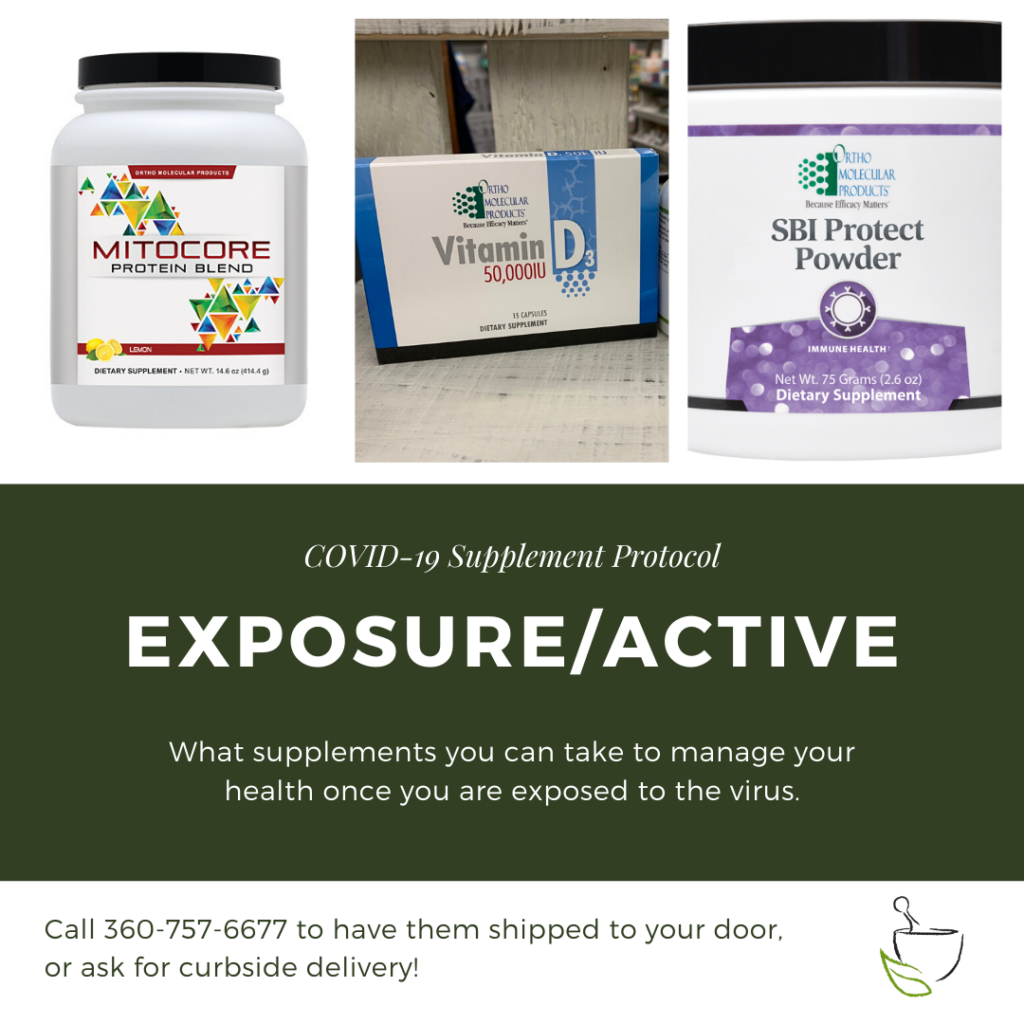 supplement protocol for exposure to or active cases of covid-19. mitocore protein blend, vitamin D 50,000IU, and SBI p