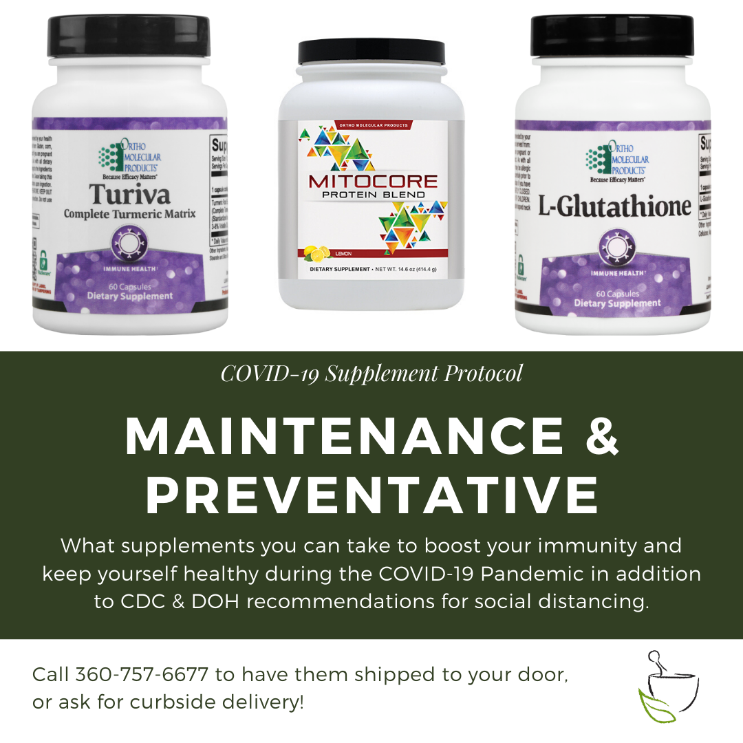 supplement protocol for covid-19 maintenance and prevention - turiva, mitocore protein blend, and l-glutathione