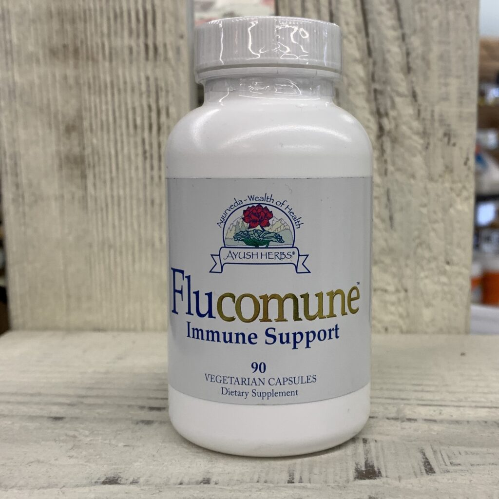 bottle of flucomune immune health support supplement by ayush herbs