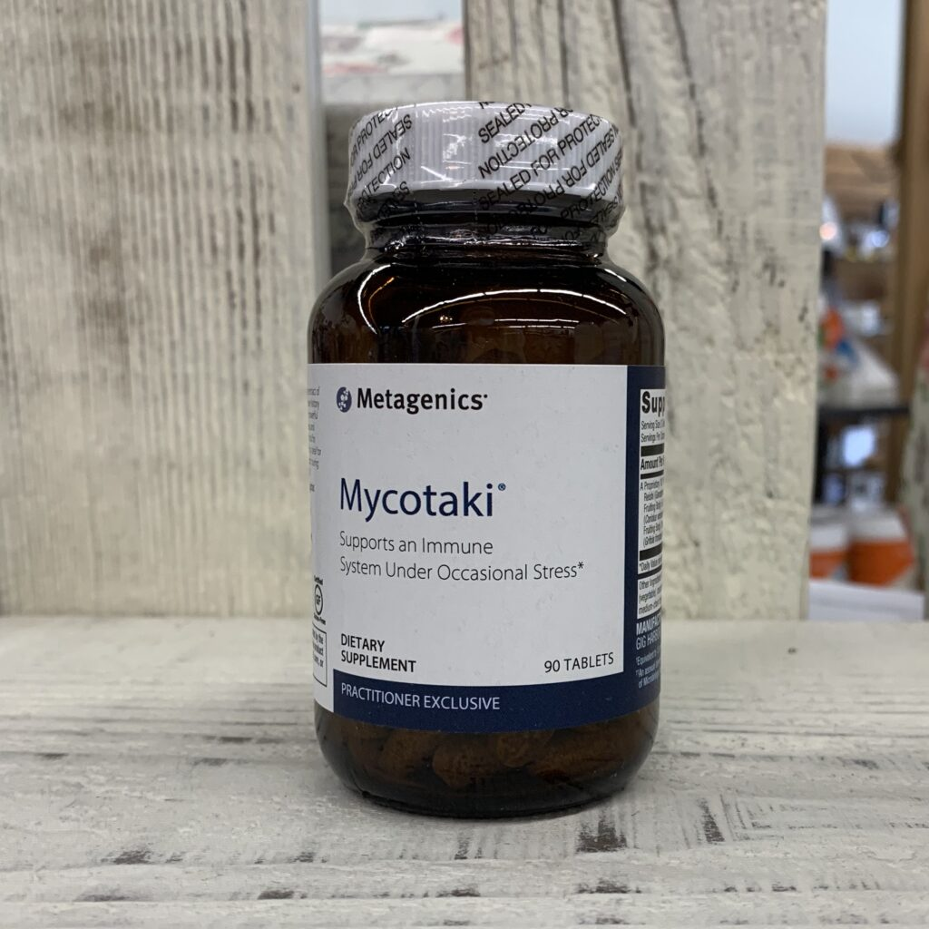 bottle of mycotaki supplement by metagenics
