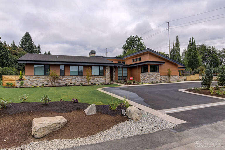 Daytime street view of Doriot Construction's 2019 Mid Century Modern Build in Felida, WA