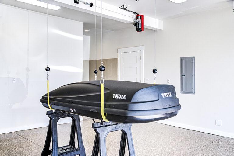 Garage custom lift of Doriot Construction's 2019 Mid Century Modern Build in Felida, WA