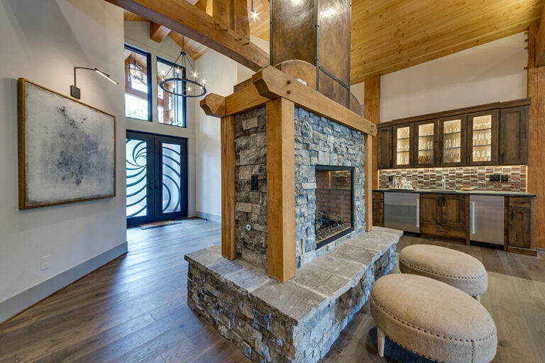 Timberline fireplace and wet bar