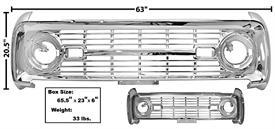 Ford Bronco GRILLE 1966-68 CHROME  NO LOGO