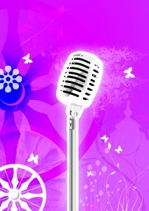 Microphone with flowers