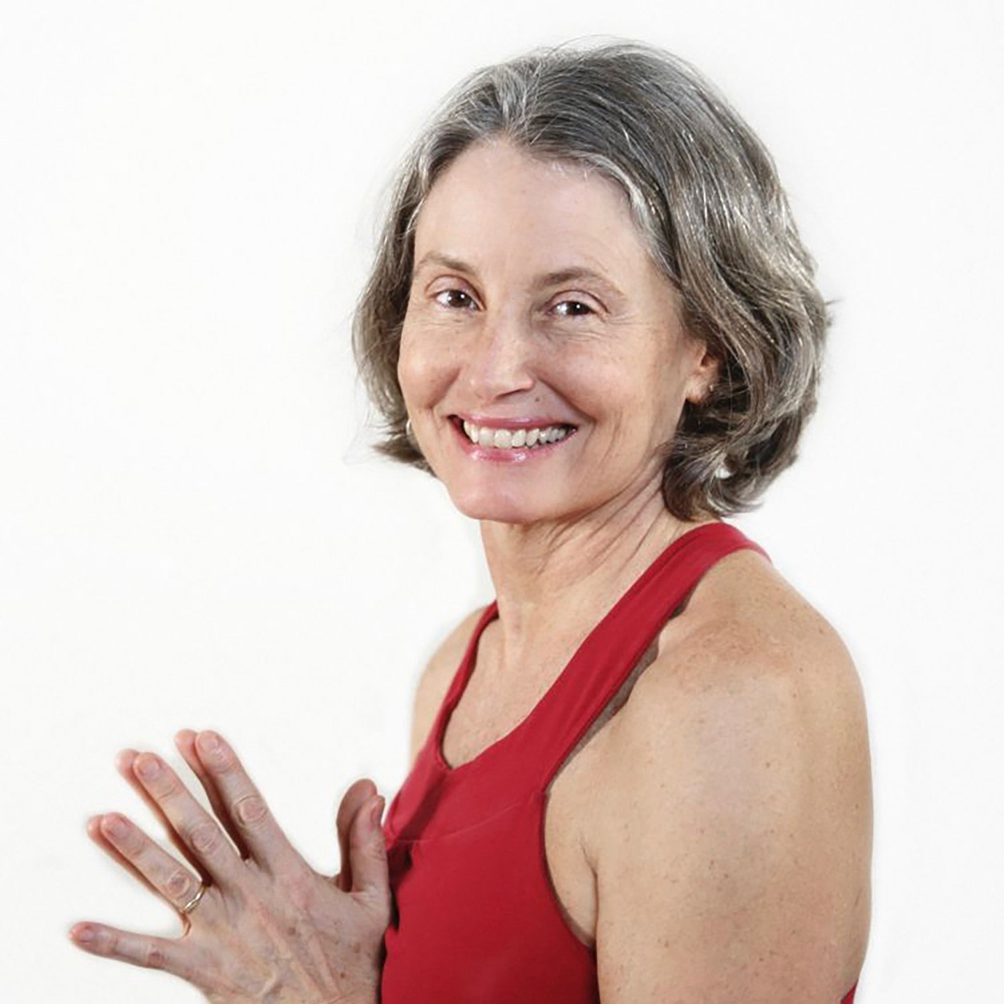 Smiling woman in a red top