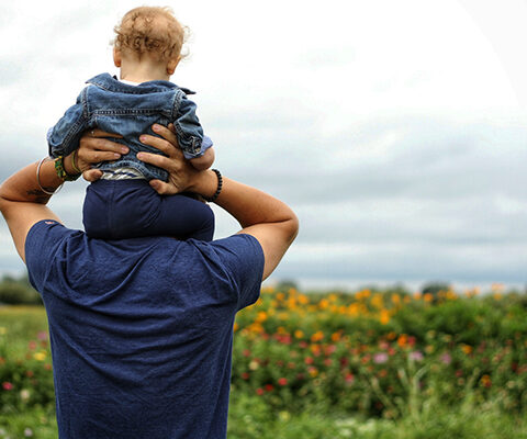Photo of toddler boy riding on his dad's shoulldlers toward an open field of wildflowrs.