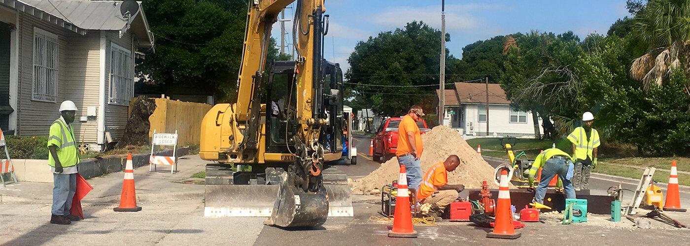 Construction site in the College Hill segment