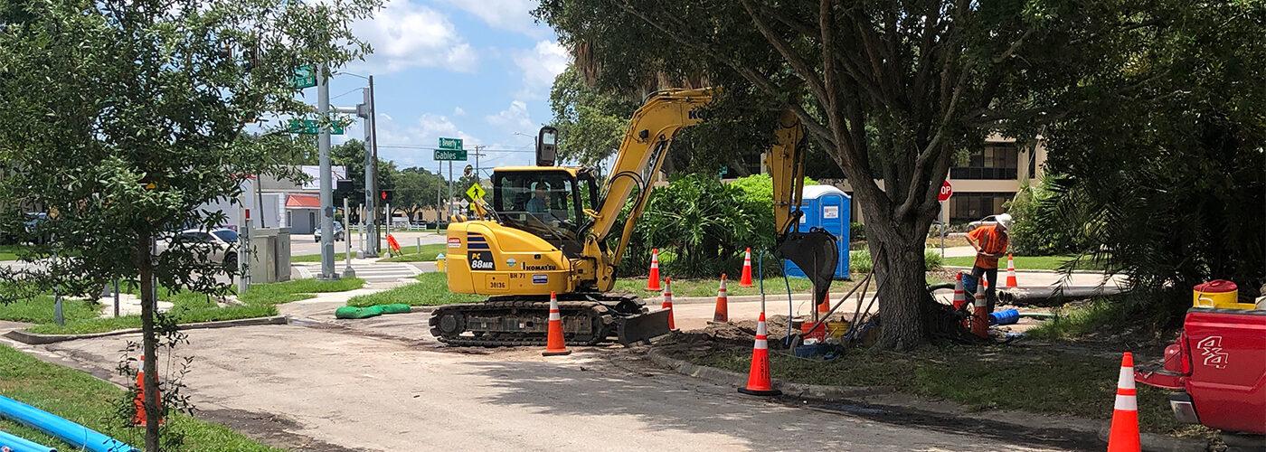 Construction site in College Hill segment