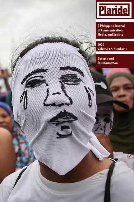 """The cover: Families of victims of """"drug war"""" cover their faces to conceal their identities while attending a protest during President Duterte's 2018 State of the Nation Address. The photograph was taken by Raffy Lerma and is part of the growing collection of Filipino photographers' images on Duterte's violent drug campaign. Image from Mr. Raffy Lerma used with permission."""