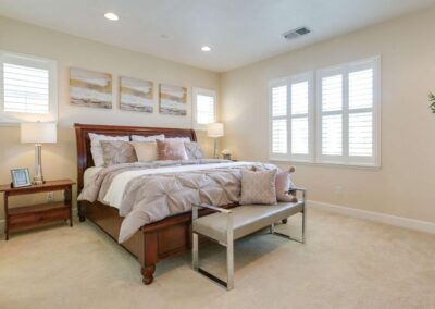 Staged home Master Bedroom in beige at 702 Cannery Rd SanJose CA