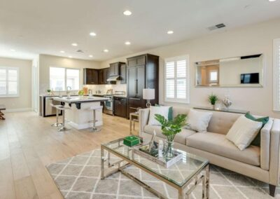 Staged home featuring beautiful beige open concept living area at 702CanneryRd SanJose CA