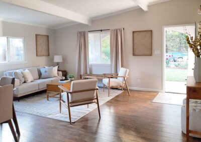 Living Room of a Staged Home at 689 Leong Drive, Mountain View, CA