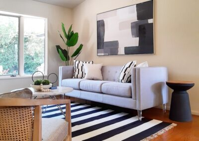 Living Room of a Staged Home at 971 S Clover Avenue, San Jose, CA