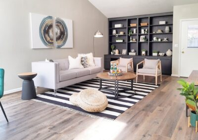 Family Room with Wall Shelves with Black Build-ins in Staged Home at 1925 Josephine Avenue, San Jose, CA