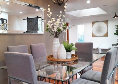 Dining Table of a Staged Home at 18301 Vanderbilt Drive, Saratoga, CA