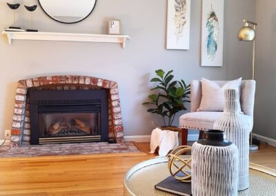 Living Room with Fireplace of a Staged Home at 1035 Johnson Avenue, San Jose, CA