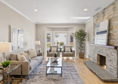 Family Room of a Staged Home at 79 Cliffside Drive, Daly City, California