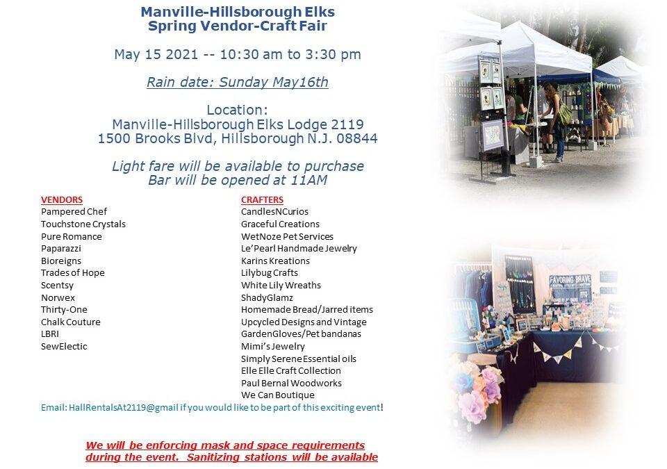 Spring 2021 Craft & Vendor Fair May 13, 2021