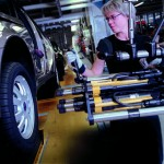 Wheel assembly with fixtured nutrunners QMX at SAAB