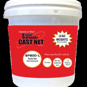 12480 -BP 800L 8′ x 1/2″ Mesh, Clear Mono Pocket Net, Lead Weights